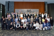 "A group photo was taken with all guests after the ""90+ Logo"" press conference."